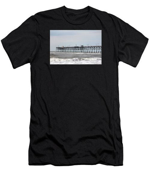 Oak Island Beach Pier Men's T-Shirt (Athletic Fit)