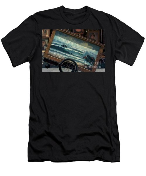 Men's T-Shirt (Slim Fit) featuring the photograph Ocean On Wheels Artist Cart At Jackson Square New Orleans La Usa by Michael Hoard