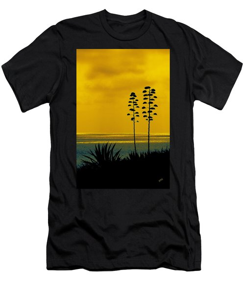 Ocean Sunset With Agave Silhouette Men's T-Shirt (Athletic Fit)