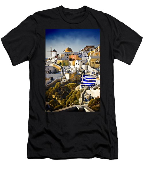 Oia And A Greek Flag Men's T-Shirt (Slim Fit) by Meirion Matthias
