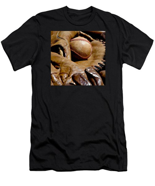 Old Baseball Ball And Gloves Men's T-Shirt (Athletic Fit)