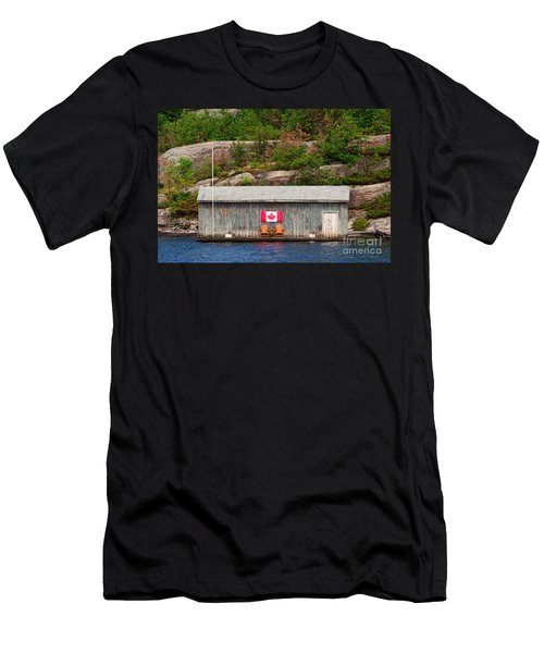 Old Boathouse With Two Muskoka Chairs Men's T-Shirt (Slim Fit) by Les Palenik