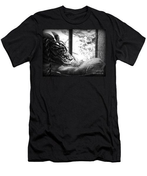 Men's T-Shirt (Slim Fit) featuring the photograph Old Boots by Clare Bevan