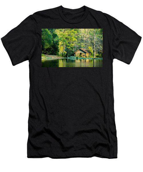 Old Cabin By The Pond Men's T-Shirt (Athletic Fit)