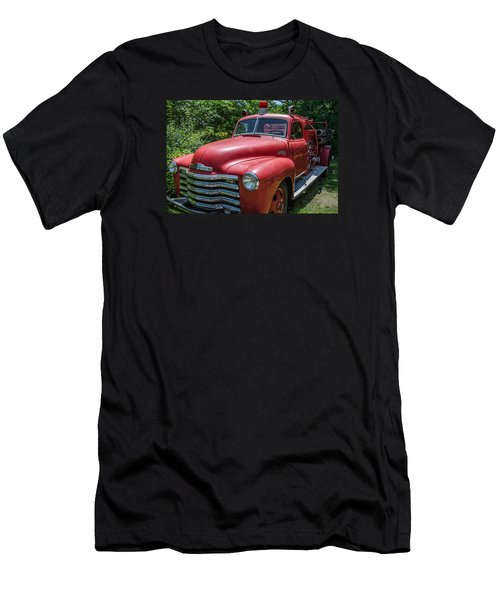 Men's T-Shirt (Slim Fit) featuring the photograph Old Chevy Fire Engine by Susan  McMenamin