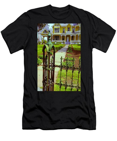 Men's T-Shirt (Slim Fit) featuring the photograph Old Green Wrought Iron Gate by Becky Lupe