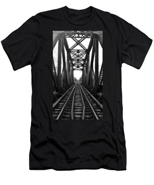 Old Huron River Rxr Bridge Black And White  Men's T-Shirt (Athletic Fit)