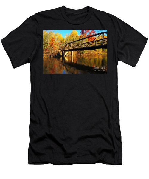 Men's T-Shirt (Slim Fit) featuring the photograph Historic Harvey Bridge Over Manistee River In Wexford County Michigan by Terri Gostola