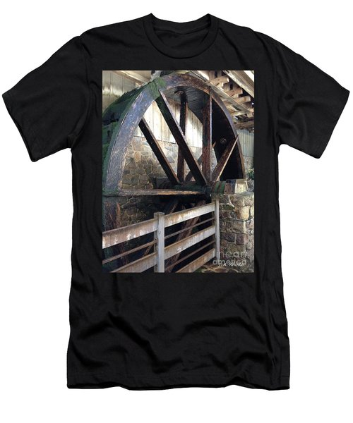 Men's T-Shirt (Slim Fit) featuring the photograph Old Mill Water Wheel by Jeannie Rhode
