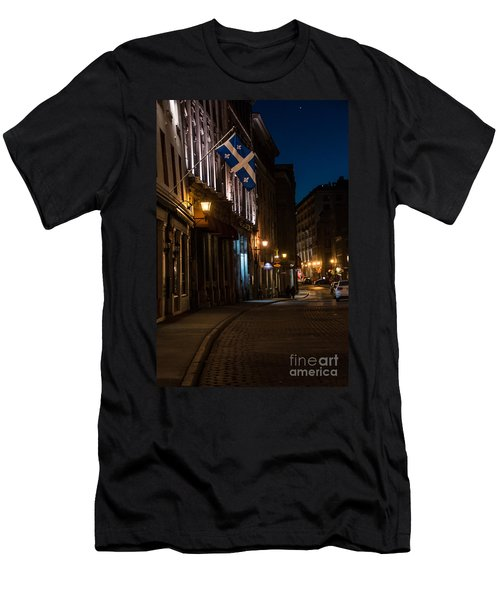 Old Montreal At Night Men's T-Shirt (Slim Fit) by Cheryl Baxter