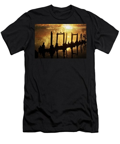 Men's T-Shirt (Slim Fit) featuring the photograph Old Pier At Sunset by Marty Koch