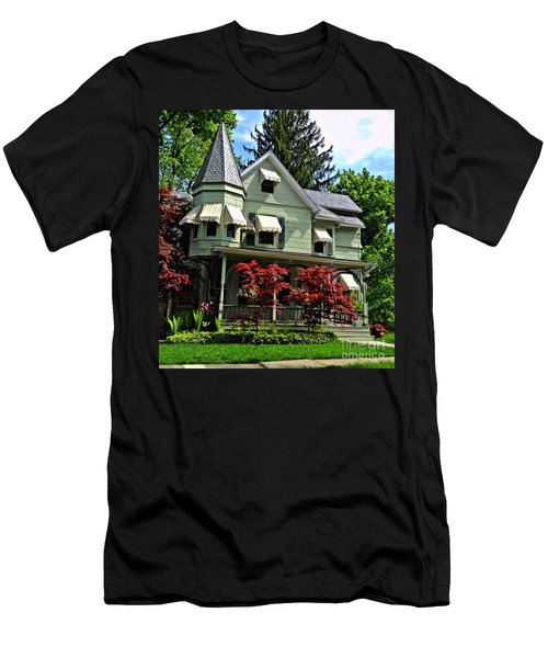 Men's T-Shirt (Slim Fit) featuring the photograph Old Victorian With Awnings by Becky Lupe