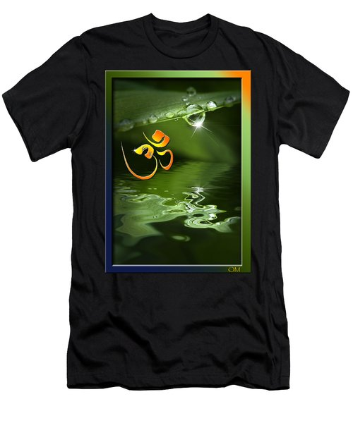 Men's T-Shirt (Slim Fit) featuring the mixed media Om On Green With Dew Drop by Peter v Quenter