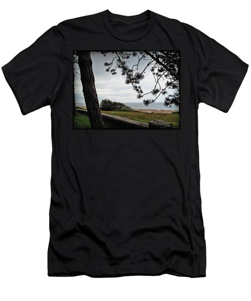 Omaha Beach Under Trees Men's T-Shirt (Athletic Fit)