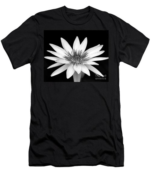 One Black And White Water Lily Men's T-Shirt (Athletic Fit)