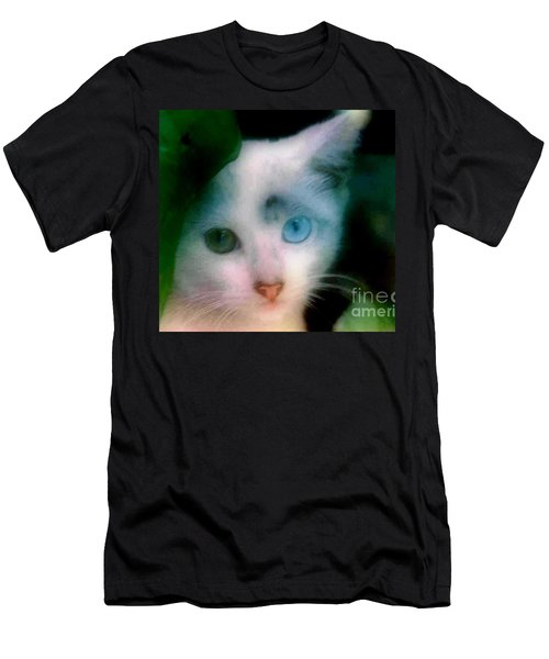 One Blue One Green Cat In New Olreans Men's T-Shirt (Slim Fit) by Michael Hoard