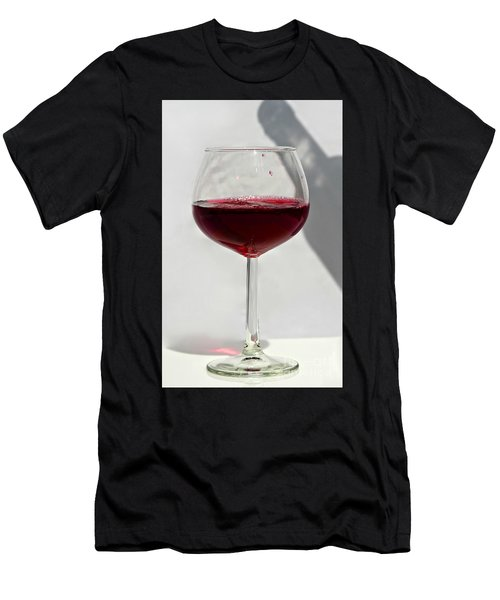 One Glass Of Red Wine With Bottle Shadow Art Prints Men's T-Shirt (Athletic Fit)