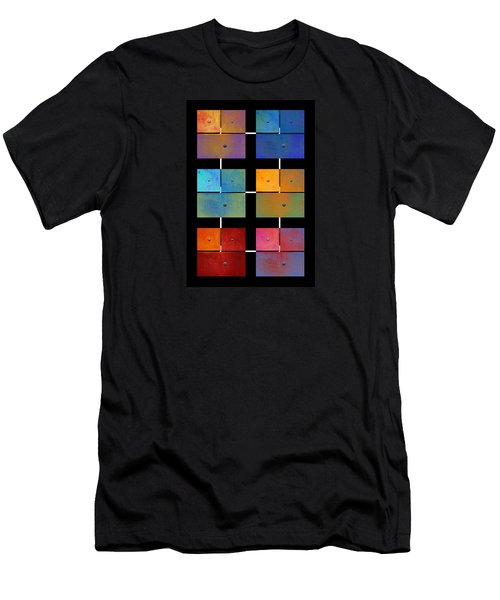Men's T-Shirt (Slim Fit) featuring the digital art One To Eighteen - Colorful Rust - All Colors by Menega Sabidussi