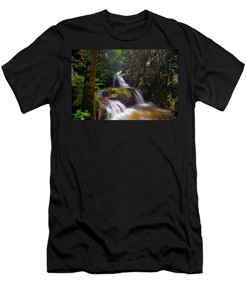 Men's T-Shirt (Slim Fit) featuring the photograph Onomea Falls by Jim Thompson