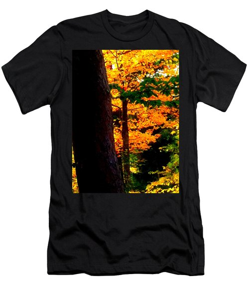 Men's T-Shirt (Slim Fit) featuring the photograph Orange Foliage by Denyse Duhaime
