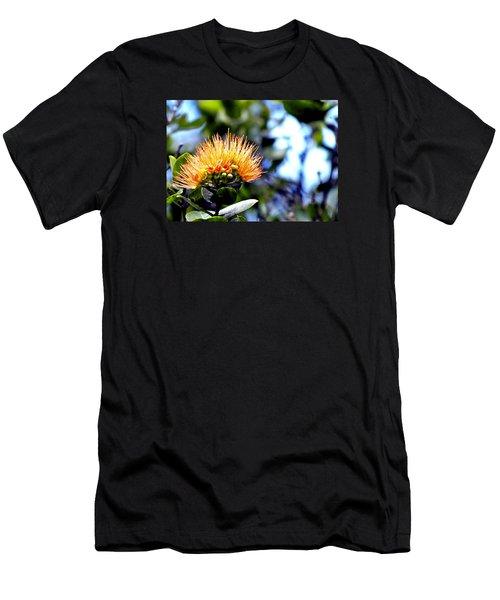 Orange Lehua On Volcano Ranch Men's T-Shirt (Athletic Fit)