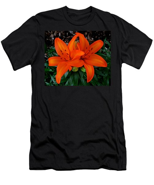 Orange Lilies Men's T-Shirt (Slim Fit)