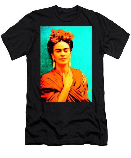 Men's T-Shirt (Athletic Fit) featuring the mixed media Orange You Glad It Is Frida by Michelle Dallocchio