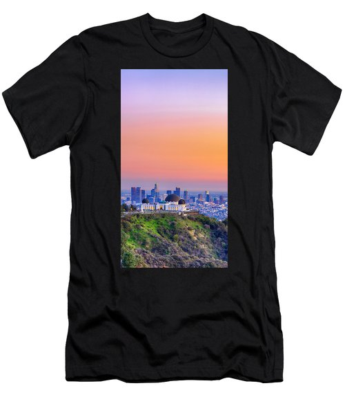 Orangesicle Griffith Observatory Men's T-Shirt (Athletic Fit)