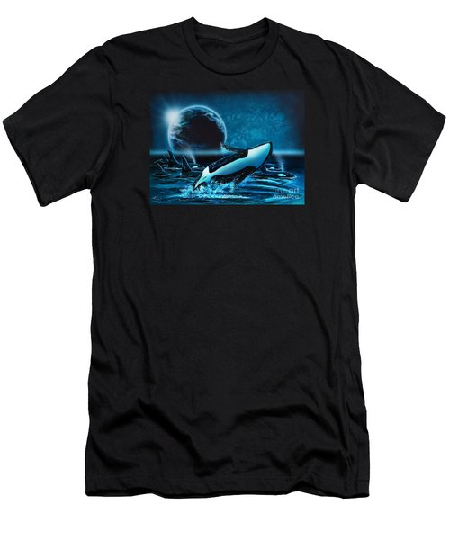 Orcas At Night Men's T-Shirt (Athletic Fit)