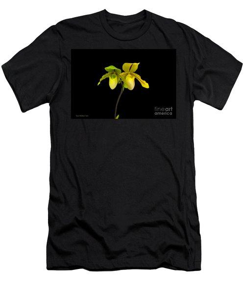 Orchid Paphiopedilum Druid Spring Men's T-Shirt (Slim Fit) by Susan Wiedmann