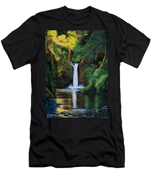 Oregon's Punchbowl Waterfalls Men's T-Shirt (Athletic Fit)