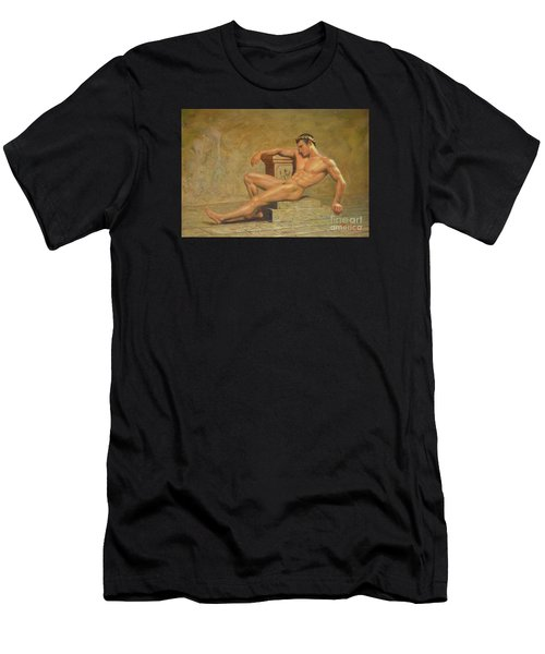 Original Classic Oil Painting Gay Man Body Art Male Nude -023 Men's T-Shirt (Athletic Fit)