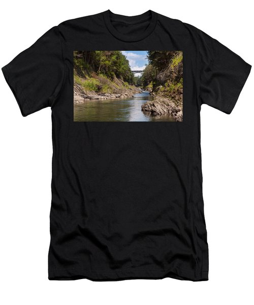 Men's T-Shirt (Athletic Fit) featuring the photograph Ottauquechee River Flowing Through The Quechee Gorge by John M Bailey
