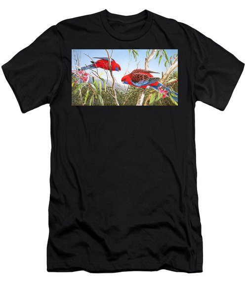 Our Beautiful Home - Crimson Rosellas Men's T-Shirt (Athletic Fit)