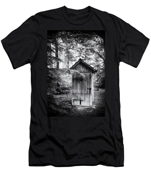 Outhouse In The Forest Black And White Men's T-Shirt (Athletic Fit)