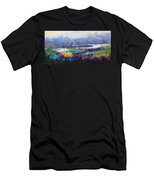 Men's T-Shirt (Athletic Fit) featuring the painting Overlook Abstract Landscape by Talya Johnson
