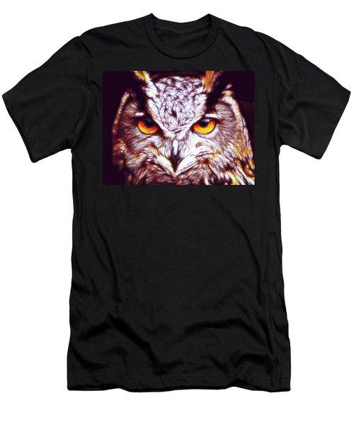 Men's T-Shirt (Slim Fit) featuring the digital art Owl - Fractal by Lilia D