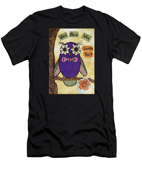Owl Love Story - Whimsical Collage Men's T-Shirt (Athletic Fit)