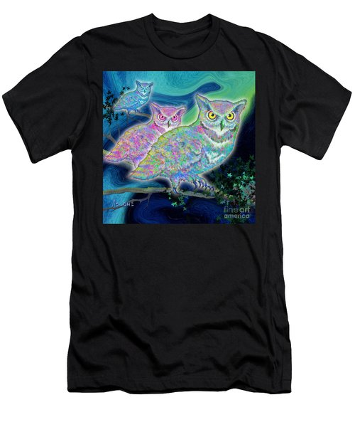 Men's T-Shirt (Slim Fit) featuring the painting Owls At Midnight  Square by Teresa Ascone
