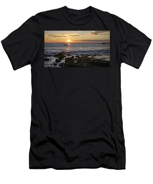 Paddlers At Sunset Horizontal Men's T-Shirt (Slim Fit) by Denise Bird