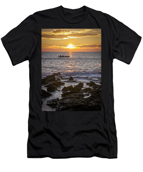Paddlers At Sunset Portrait Men's T-Shirt (Slim Fit) by Denise Bird