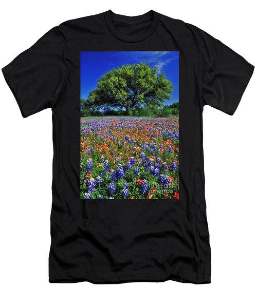 Paintbrush And Bluebonnets - Fs000057 Men's T-Shirt (Slim Fit) by Daniel Dempster