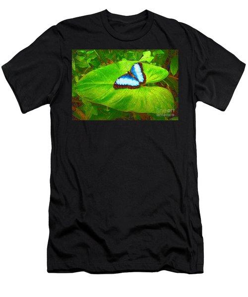 Painted Blue Morpho Men's T-Shirt (Athletic Fit)