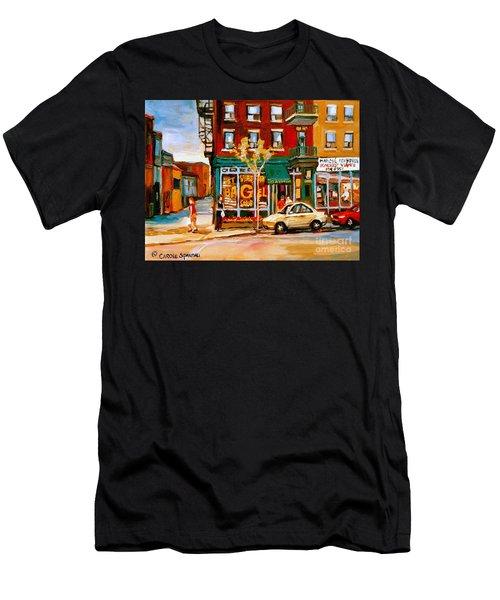 Paintings Of  Famous Montreal Places St. Viateur Bagel City Scene Men's T-Shirt (Athletic Fit)