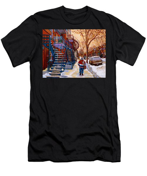 Paintings Of Montreal Beautiful Staircases In Winter Walking Home After The Game By Carole Spandau Men's T-Shirt (Athletic Fit)