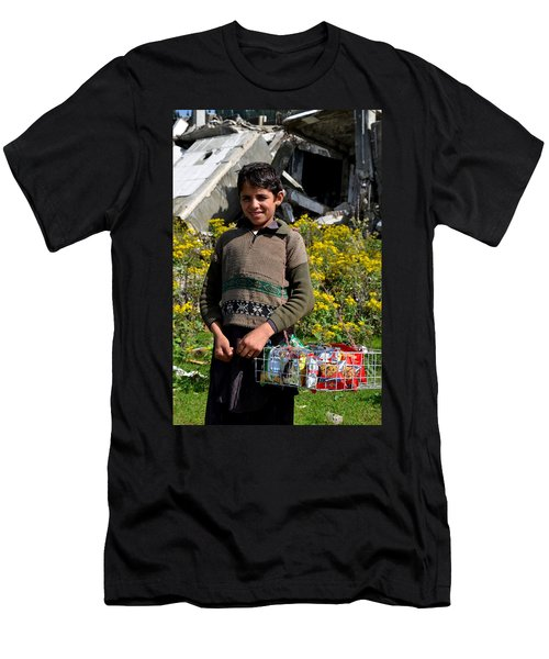 Men's T-Shirt (Slim Fit) featuring the photograph Pakistani Boy In Front Of Hotel Ruins In Swat Valley by Imran Ahmed