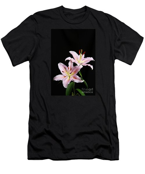 Pale Pink Asiatic Lilies Men's T-Shirt (Slim Fit) by Judy Whitton