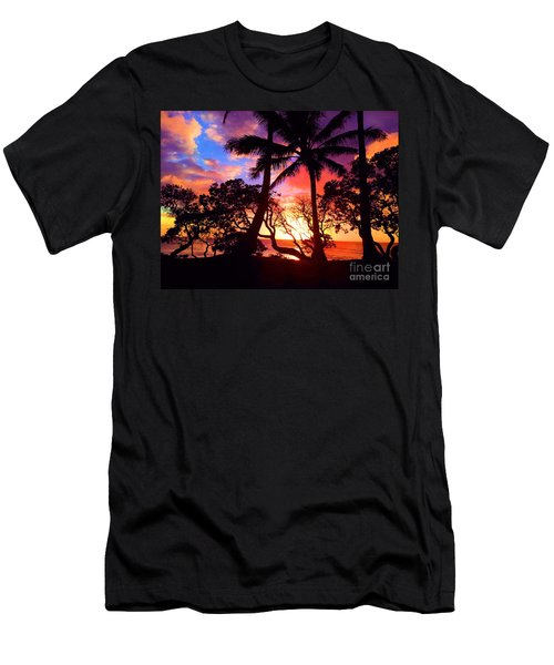 Men's T-Shirt (Slim Fit) featuring the photograph Palm Tree Silhouette by Kristine Merc