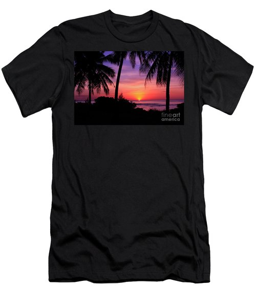 Palm Tree Sunset In Paradise Men's T-Shirt (Slim Fit) by Scott Cameron