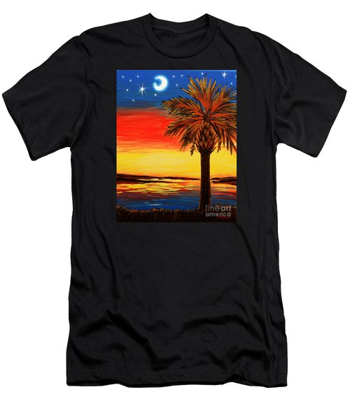 Palmetto Moon And Stars Men's T-Shirt (Slim Fit) by Patricia L Davidson